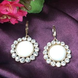 Monet Gold Tone Dangle Earrings Pierced.
